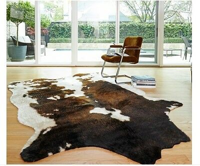 New Cowhide Beige Brown Area Rug Faux Cow Rawhide Animal