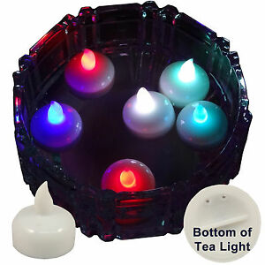 6 flameless floating led tealight candle battery operated multi color tea lights. Black Bedroom Furniture Sets. Home Design Ideas