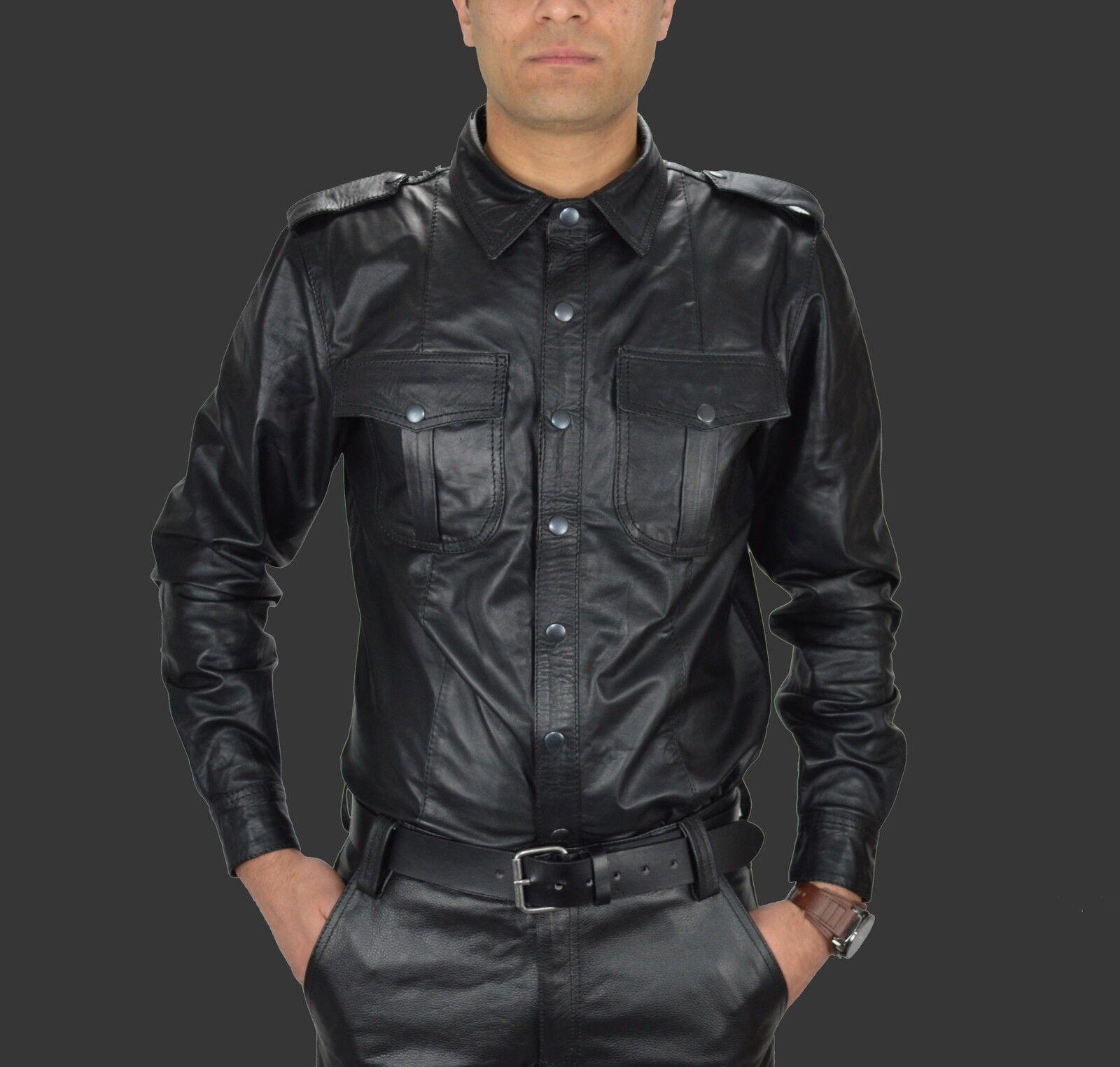 Mens Leather shirt,police style Gay leather shirt,lederhemd,Weste en Cuir,Hemd
