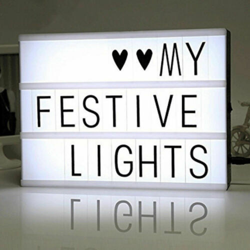 A4 Light Up LED Cinematic Letter Box Xmas Sign Wedding Party Cinema Plaque Shop