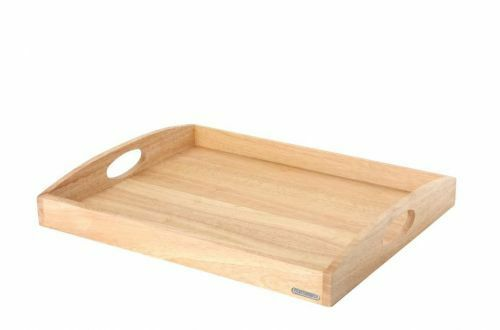 Continenta Holztablett Serviertablett Gummibaumholz Frühstückstablett 50x39x5 cm
