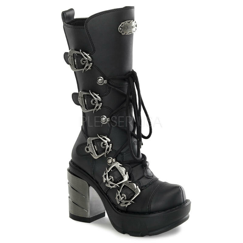 Demonia Black 3.5  Chromed Heel Multi-Strap Buckle Calf Boots 6 7 8 9 10 11 12