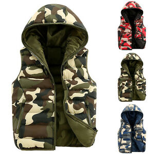 New-Mens-Military-Padded-Waistcoat-Thick-Winter-Warm-Coat-Hooded-Casual-Jeckets