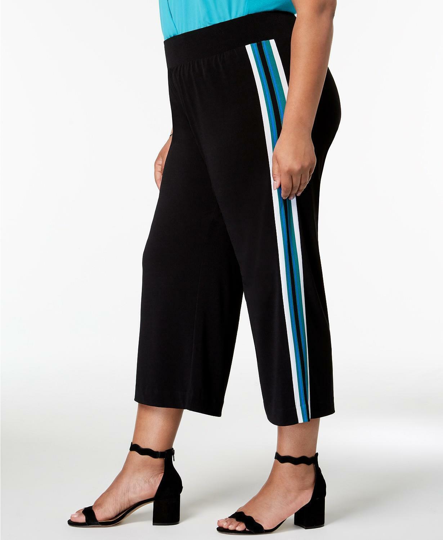 INC Womens Black Striped Wide Leg Pull On Pants Plus 0X BHFO 2794