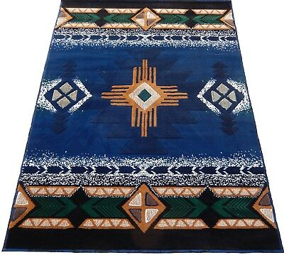 Arizona Southwestern Apache Navy Blue 8x11 Area Rug Carpet