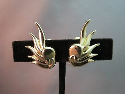 Vintage Monet Comfort Clip Earrings Ear Climber Gold Plated Design Marked PATD