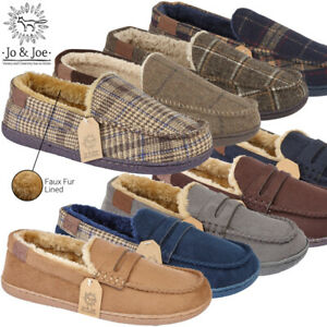 Mens-Comfy-Moccasin-House-Slipper-Shoes-Faux-Suede-Sheepskin-Fur-Lined-Hard-Sole