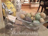 Pottery Barn Farmer Bunny Wheelbarrow Serving Bowl Easter Rabbit