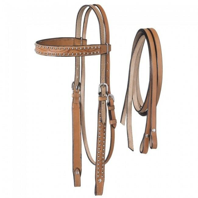 Western Natural Leather Set of Hand Carved Headstall and Plain Leather Reins