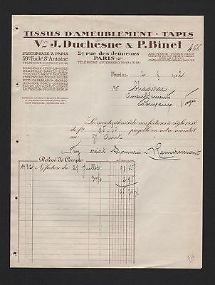 Clever Paris, Rechnung 1932, Vve J. Duchèsne & P. Binet Tissus D'ameublement Quell Sommer Durst
