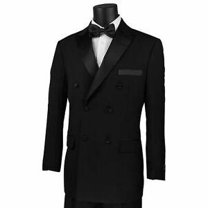 VINCI Men/'s Navy Blue Double Breasted 6 Button Classic Fit Suit NEW