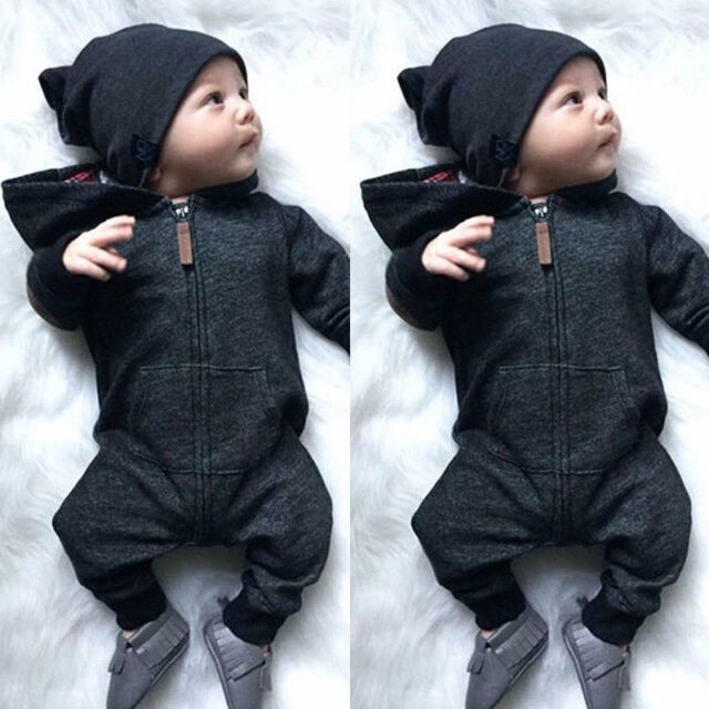 Kids Baby Boy Warm Infant Romper Jumpsuit Bodysuit Hooded Clothes Sweater Outfit