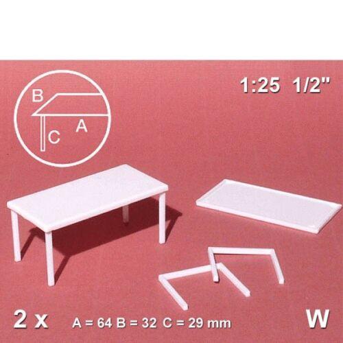 2 Stück Schulcz 57.20201.2 2,23€//Stück Tisch 1:25 groß weiß