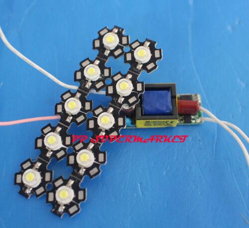 10X 3W Cold White 6000-6500K High Power LED chip 110//220V 6-10x3w driver IP20