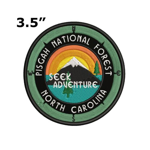Pisgah National Forest Embroidered Patch Iron-On Sew-On Compass Applique