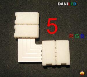 5 X CONECTORES EN '' L ''  4 PIN RGB 10mm 90 GRADOS PARA TIRA LED SMD 5050 RGB
