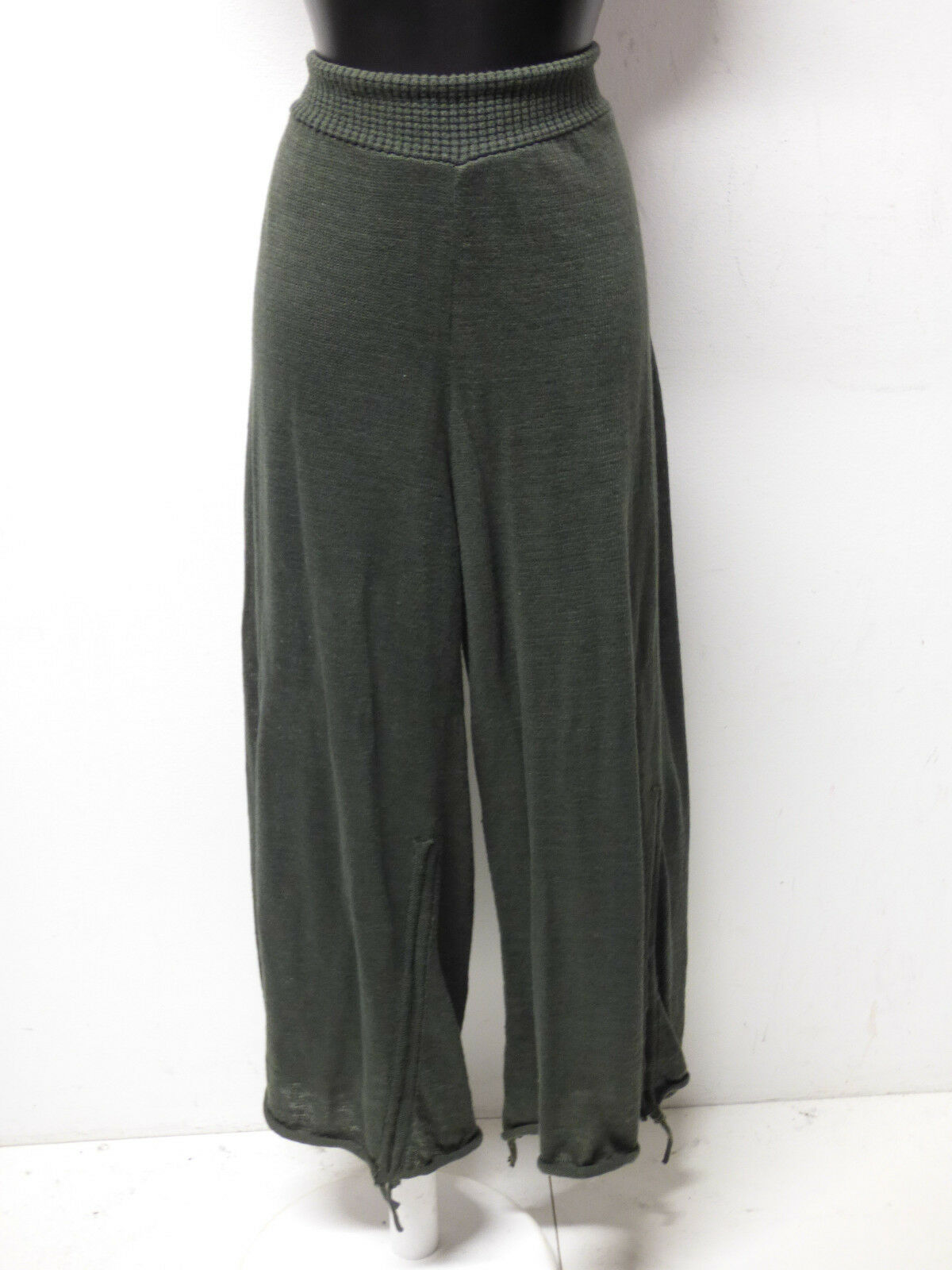 Barbara Speer Donna Pantaloni Taglia L-XL de in verde & 100% Lino (P 3808)