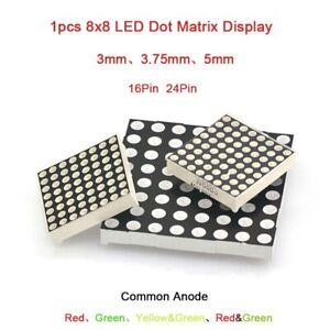 1Pcs 8x8 DEL Dot Matrix Display 3mm/3.75mm/5mm Common Anode 16/24Pin rouge vert