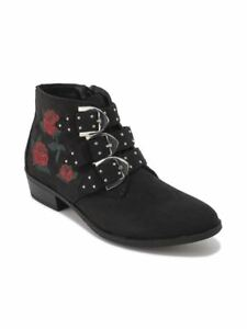 Truffle Black Zip Flower Embroidery Boots Floral Vegan Suede Buckle Biker Ankle rrqdw8