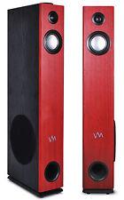 VM Audio EXAT10 Cherry/Black Floorstanding Powered Bluetooth Tower Speakers Pair