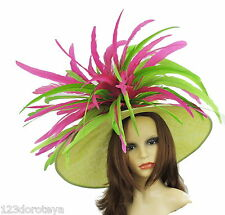 Lime Green & Fuchsia Large Ascot Hat for Weddings, Ascot, Derby in many colors