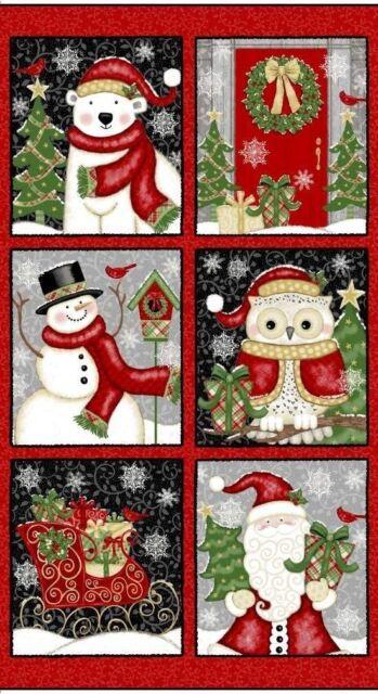 "Christmas Cowboy Santa Cotton Fabric Blank Textiles Western Greetings 24/"" Panel"