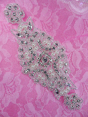 """DH40 Pearl Applique Crystal Clear Silver Beaded Rhinestone Patch 6"""""""