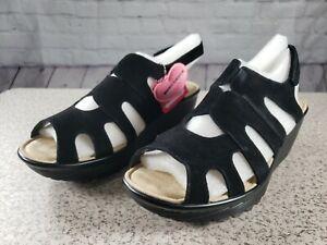 Skechers-Suede-Peep-toe-Slingback-Wedges-Stylin-039-Black-Size-11-W