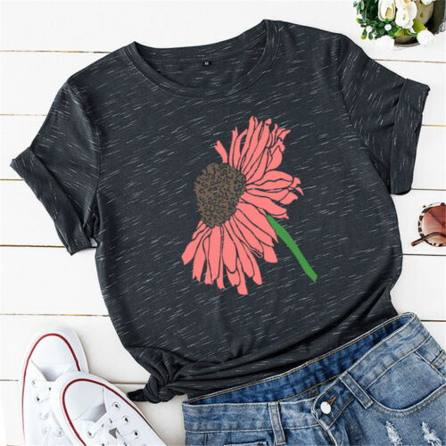 Womens Casual Pullover Floral Short Sleeve Tee Basic Shirt Ladies Blouse Tops