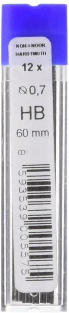 KOH-I-NOOR Fine Graphite Leads for 0.7mm Diameter 60mm HB Mechanical Pencil