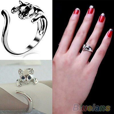 Womens Silver Plated Kitten Cat Animal Crystal Eyes Ring Fashion Jewelry B92U