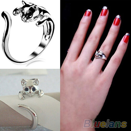 Fashion Jewelry Womens Cool Silver Plated Kitten Cat Ring With Crystal Eyes B52U