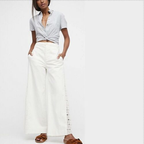 Lacey Free People Linned Wide Leg Ob760957 Pants Nwt 148 Hvid Rise High wqHgxOwdE