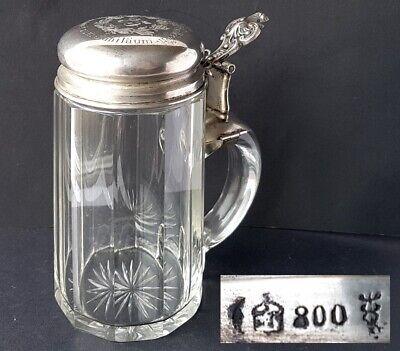 Glass Mug/ Beer Mug Um 1900 Al1284 A Great Variety Of Models 800 Silver