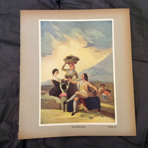 Vintage Book Print Tipped In Autumn The Grape Harvest Goya 1938