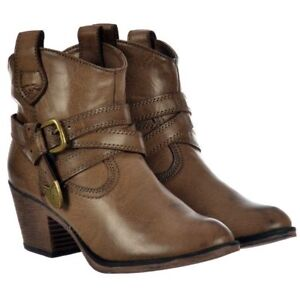 87bf9462e1c Details about Womens Girls Rocket Dog Satire Cowboy Ankle Boots Cuban Heel  Taupe Size New