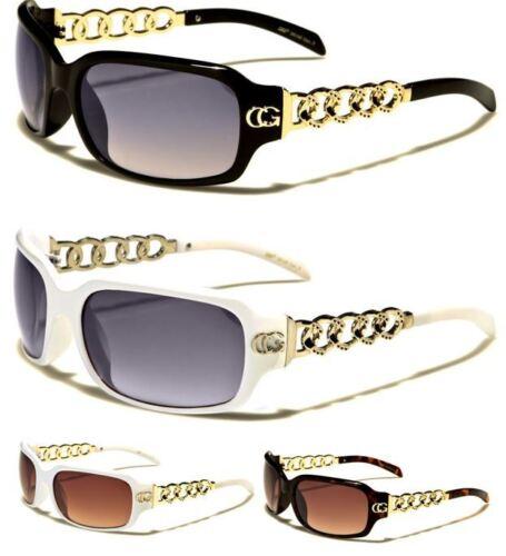 NUOVO Donna CG Da Donna Ragazza Designer nero marrone rettangolare in metallo occhiali da sole uv400