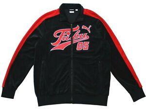 Puma-X-FUBU-T7-Track-Jacket-Black-Red-Velvet-Velour-Full-Zip-Mens-Size-Large