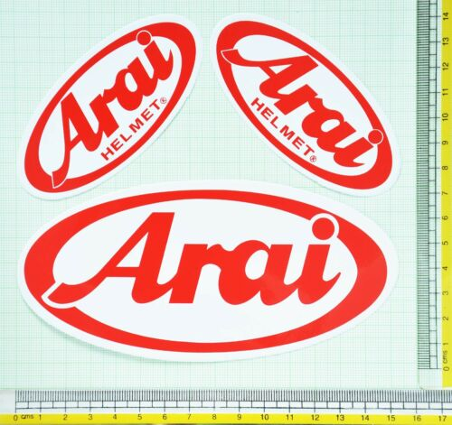 NEW 3x Arai Helmet Red Logo Vinyl Decals Stickers Motocross Racing ATV MTB Bike
