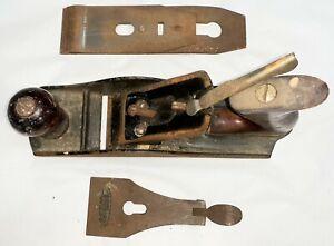 "antique DUNLAP 10"" wood & steel hand plane w 2"" blade - everything works - NR"