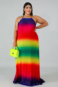 Details about Plus Size Rainbow Ombre Pleated Backless Going Out Maxi Dress