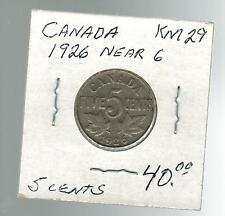 1926 Canada 5 Cents KM 29 Silver Coin Near 6