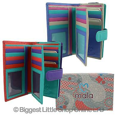 NEW Ladies LEATHER Multi-Coloured TABBED Purse/Wallet by Mala Grafton Collection