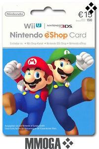 15€ Nintendo eShop Tarjeta Prepago - 15 Euro 3DS Wii U Switch Código - ES
