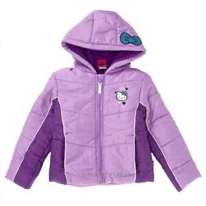 a7b8047fb Image is loading Hello-Kitty-Girl-Purple-Fleece-Winter-Puffer-Hooded-