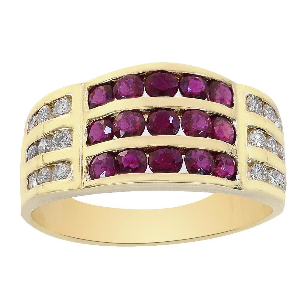 0.25 Carat Diamond & 0.75 Carat Ruby Ring 14K Yellow gold