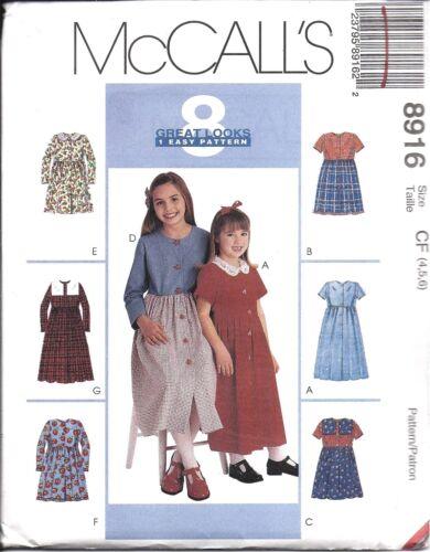 UNCUT Vintage McCalls Sewing Pattern Girls 8 Great Looks Easy Dress 8916 OOP SEW