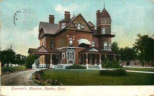 1907-Postkarte-Governors-Herrenhaus-Topeka-Kansas-Ks