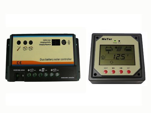 Dual Batterie Solar Charge Controller 10 A 12V//24V with remote meter