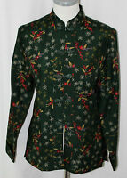 Anna And Frank, Small, Forest Green/orchid Print Silk Shirt, With Tags